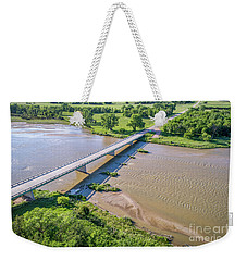 aerial view of Niobrara River in Nebraska Sand Hills Weekender Tote Bag
