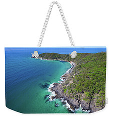 Weekender Tote Bag featuring the photograph Aerial View Of The Coastline In Noosa National Park by Keiran Lusk