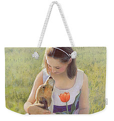 Weekender Tote Bag featuring the painting Affection by Nancy Lee Moran