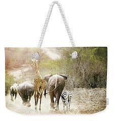 Africa Safari Animals Walking Down Path Weekender Tote Bag