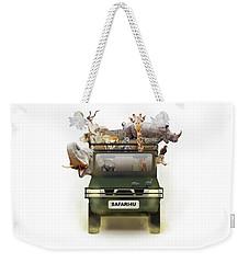 African Animals In Safari Tour Vehicle Weekender Tote Bag