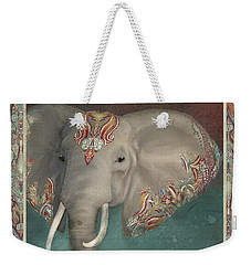 Weekender Tote Bag featuring the painting African Bull Elephant - Kashmir Paisley Tribal Pattern Safari Home Decor by Audrey Jeanne Roberts