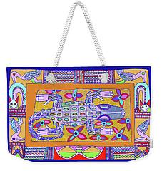 Weekender Tote Bag featuring the digital art African Croc Beach Bum by Vagabond Folk Art - Virginia Vivier