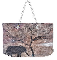 African Landscape Baby Elephant And Banya Tree At Watering Hole With Mountain And Sunset Grasses Shr Weekender Tote Bag