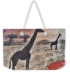 African Landscape Giraffe And Banya Tree At Watering Hole With Mountain And Sunset Grasses Shrubs Sa Weekender Tote Bag