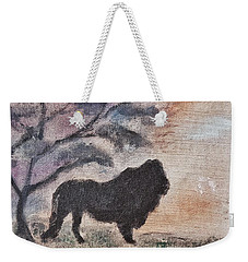 African Landscape Lion And Banya Tree At Watering Hole With Mountain And Sunset Grasses Shrubs Safar Weekender Tote Bag