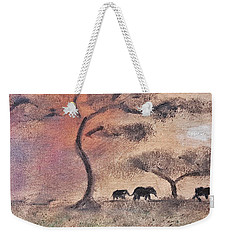 African Landscape Three Elephants And Banya Tree At Watering Hole With Mountain And Sunset Grasses S Weekender Tote Bag