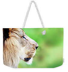 African Lion Face Closeup Web Banner Weekender Tote Bag