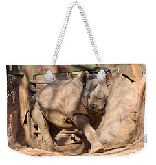 Weekender Tote Bag featuring the photograph African Rhino by Donna Brown