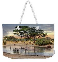 African Safari Wildlife At The Waterhole Weekender Tote Bag