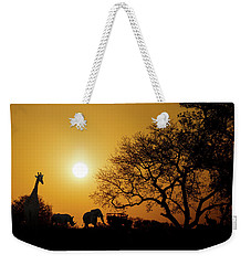 African Sunset Silhouette With Copy Space Weekender Tote Bag