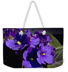 Weekender Tote Bag featuring the photograph African Violets by Phyllis Denton