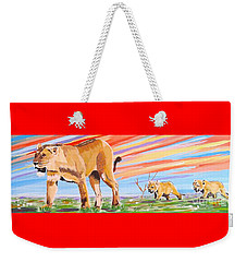 African Lion And Cubs Weekender Tote Bag by Phyllis Kaltenbach
