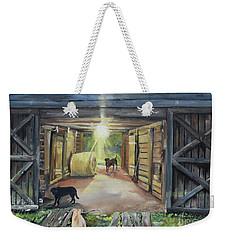 Weekender Tote Bag featuring the painting After Hours In Pa's Barn - Barn Lights - Labs by Jan Dappen