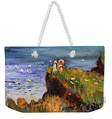 Weekender Tote Bag featuring the painting After Monet Somewhere On The Cliffs Of Normandie by Michael Helfen