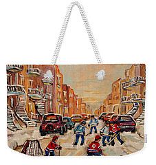 Weekender Tote Bag featuring the painting After School Hockey Game by Carole Spandau