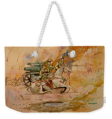 Weekender Tote Bag featuring the painting After The Charge by Ray Agius