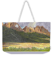 Weekender Tote Bag featuring the painting After The Monsoon Organ Mountains by Jack Pumphrey