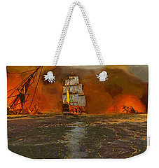 Weekender Tote Bag featuring the painting Aftermath by Kai Saarto