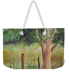 Weekender Tote Bag featuring the painting Afternoon Chat by Vicki  Housel