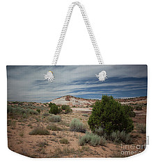 Afternoon Clouds Over White Pocket Weekender Tote Bag by Anne Rodkin