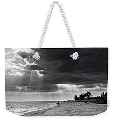 Afternoon Fishing On Sanibel Island In Black And White Weekender Tote Bag