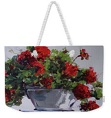 Weekender Tote Bag featuring the painting Afternoon Geraniums by Sandra Strohschein