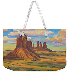 Weekender Tote Bag featuring the painting Afternoon Light Monument Valley by Diane McClary