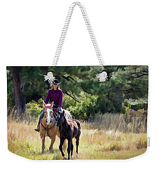 Afternoon Ride In The Sun - Cowgirl Riding Palomino Horse With Foal Weekender Tote Bag