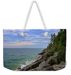 Weekender Tote Bag featuring the photograph Agawa Bay Rocky Shore by Rachel Cohen