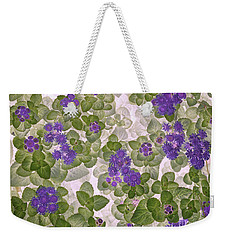Weekender Tote Bag featuring the photograph Ageratum by Ann Jacobson