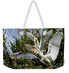 Aggression Between Cattle Egrets And Tricolored Heron Weekender Tote Bag