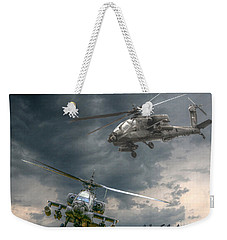 Ah-64 Apache Attack Helicopter In Flight Weekender Tote Bag