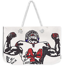Weekender Tote Bag featuring the drawing Ahmad Bradshaw by Jeremiah Colley