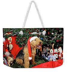 Airedale Terrier Dressed As Santa-claus Weekender Tote Bag