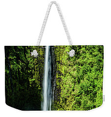 Weekender Tote Bag featuring the photograph Akaka Falls With Rainbow by John Hight