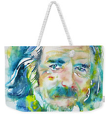 Weekender Tote Bag featuring the painting Alan Watts - Watercolor Portrait.4 by Fabrizio Cassetta