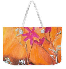 Weekender Tote Bag featuring the painting Alba Daisies by Winsome Gunning