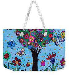 Weekender Tote Bag featuring the painting Albero Della Vita by Pristine Cartera Turkus