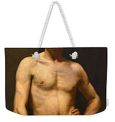 Weekender Tote Bag featuring the painting Albert Edelfelt Male Model by Artistic Panda