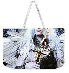 Weekender Tote Bag featuring the painting Albino Angel by Suzanne Silvir