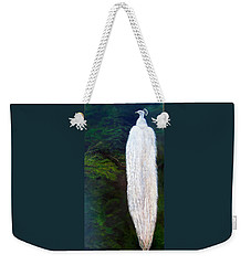 Weekender Tote Bag featuring the painting Albino Peacock by LaVonne Hand