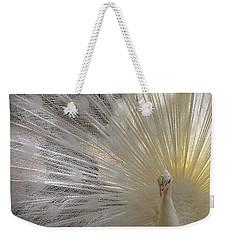 Pure White Peacock Weekender Tote Bag