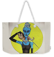 Weekender Tote Bag featuring the painting Alien At Tiffany's by Similar Alien