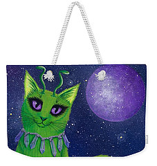 Weekender Tote Bag featuring the painting Alien Cat by Carrie Hawks