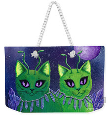 Weekender Tote Bag featuring the painting Alien Cats by Carrie Hawks