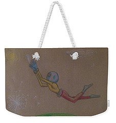 Weekender Tote Bag featuring the drawing Alien Chasing His Dreams by Similar Alien