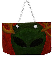 Weekender Tote Bag featuring the painting Alien Deer by Lola Connelly