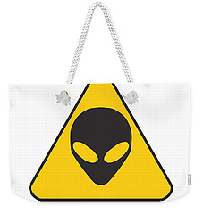 Alien Grey Graphic Weekender Tote Bag by Pixel Chimp