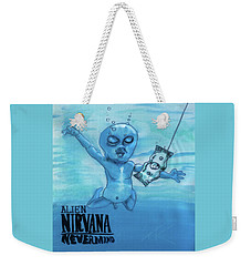 Weekender Tote Bag featuring the painting Alien Nevermind by Similar Alien